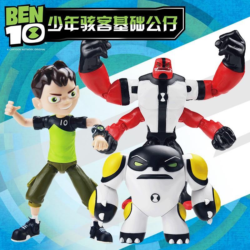 [qq2]少年駭客BEN10基礎可動人偶Omnitrix田小班火焰人外星英雄玩具