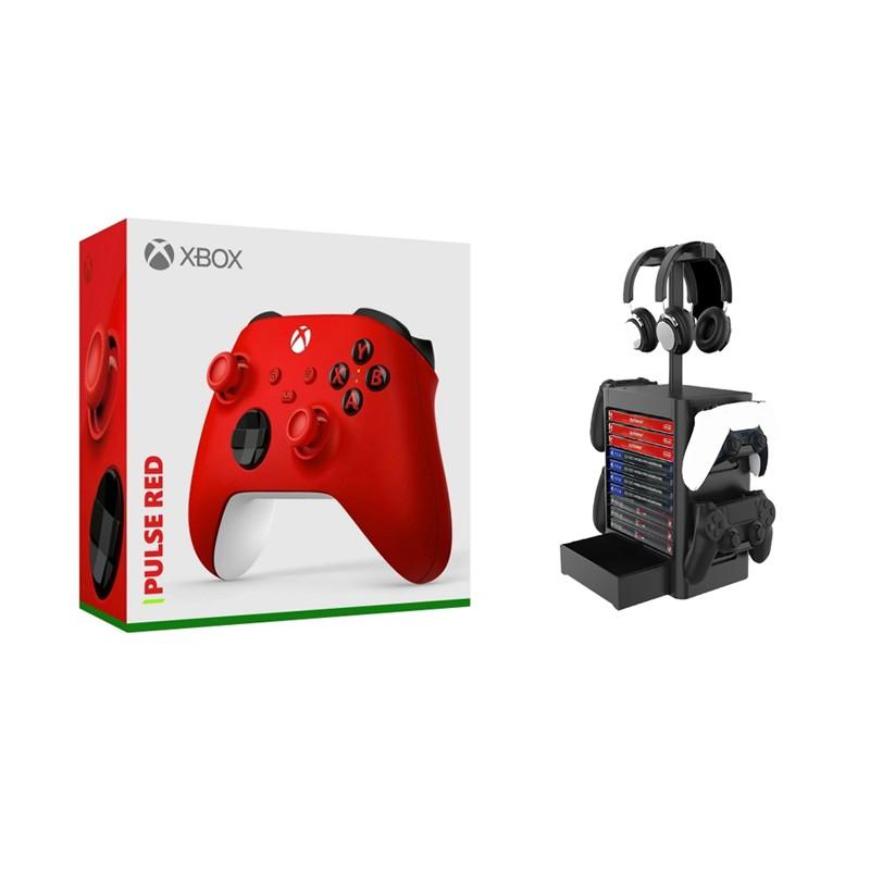 Xbox Series 狙擊紅 無線藍芽控制器 + JYS NS199 黑色 多功能收納支架