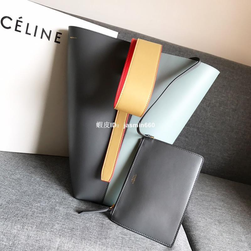 賽琳 Celine 拼色水桶包 Celine twisted cabas頭層牛皮 側背包 女生斜背包 女包