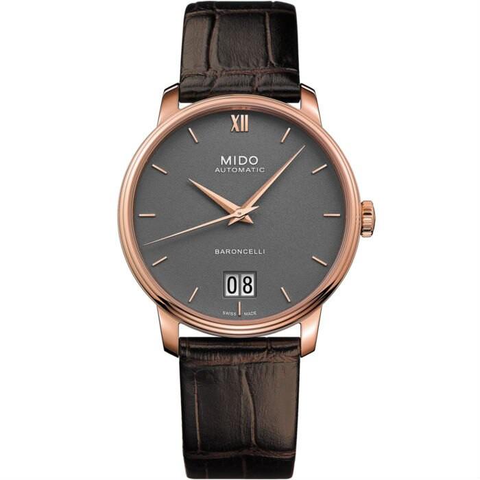 Mido 美度錶 M0274263608800 Baroncelli系列瑞士經典大日曆腕錶/炭灰 40mm