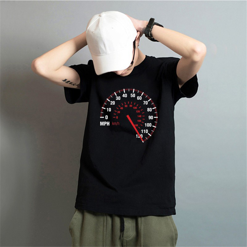 T-Shirt 男士 HanHent Speedometer 時尚機車棉質 T 恤黑色
