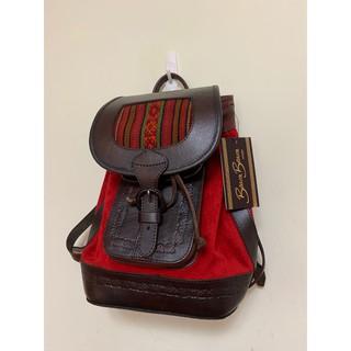 英國購入 全新 Beara Beara 織紋民俗風牛皮後背包 紅色 質感 民族風 台中市