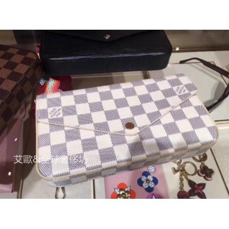 【艾歐】專櫃正品 Louis Vuitton 黑 白 棋盤格 鏈包長夾 N63106 N63032