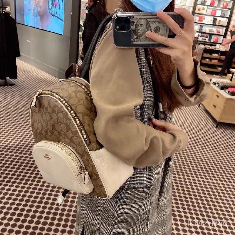 熱銷新品 COACH F5671 中號雙肩包 後背包 休閒旅行背包 大容量 女士書包 旅行包 雙拉鍊後背包 女包 附購證