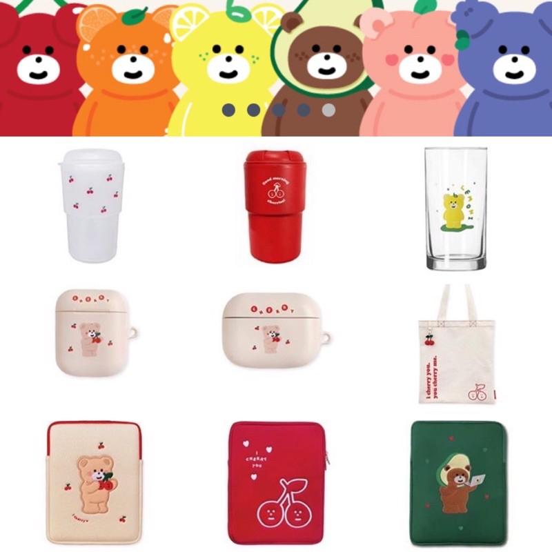 韓國文創 mallongbooth 小熊筆電包 耳機殼 帆布袋 隨手杯iPad包 小熊收納袋 粉色電腦包 13寸 15寸