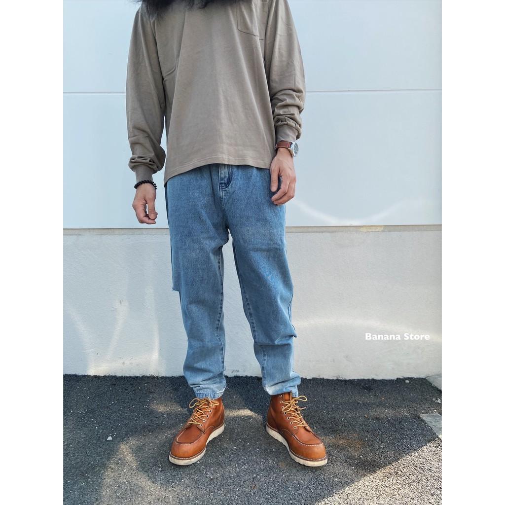 [Banana Store] 現貨 小割破寬褲設計 牛仔長褲 牛仔褲  [95735]