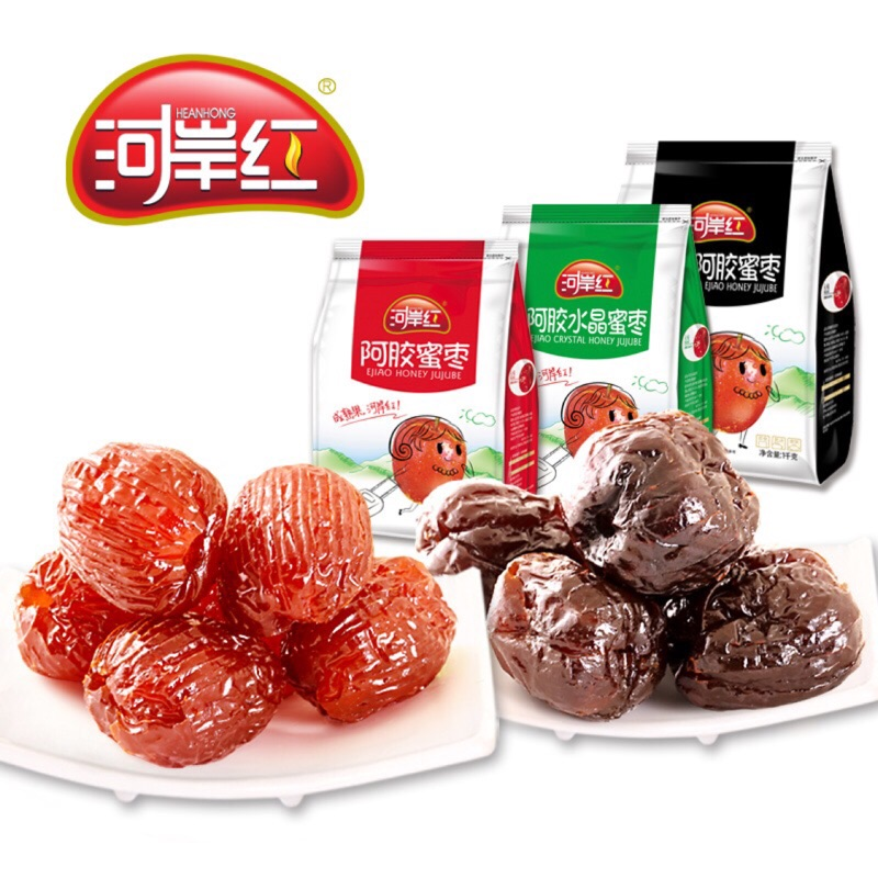 河岸紅阿膠蜜棗組合2000g重:阿膠蜜棗500g+阿膠水晶蜜棗500g+阿膠黑糖蜜棗1000g。