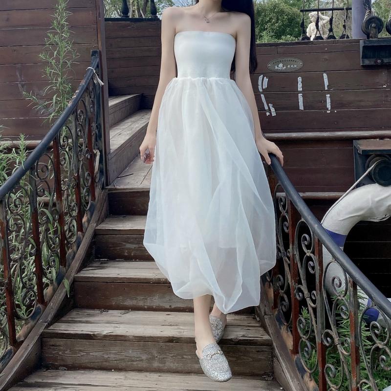 性感優雅蓬蓬裙平口洋裝抹胸高腰網紗長裙仙女洋裝