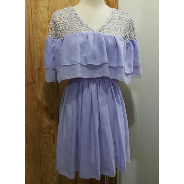 【倉庫爆滿 老闆瘋狂↘價800】紫色花朵縷空假ㄧ字領造型浪漫洋裝