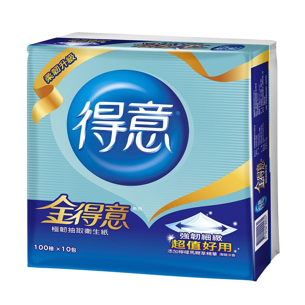 免運【得意】金得意極韌連續抽取式花紋衛生紙100抽*10包*7袋/箱