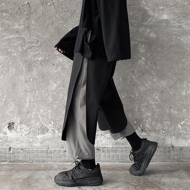 原創設計休閑長褲寬松直筒墜感闊腿九分褲男寬松暗黑系機能工裝褲男抽繩束腳