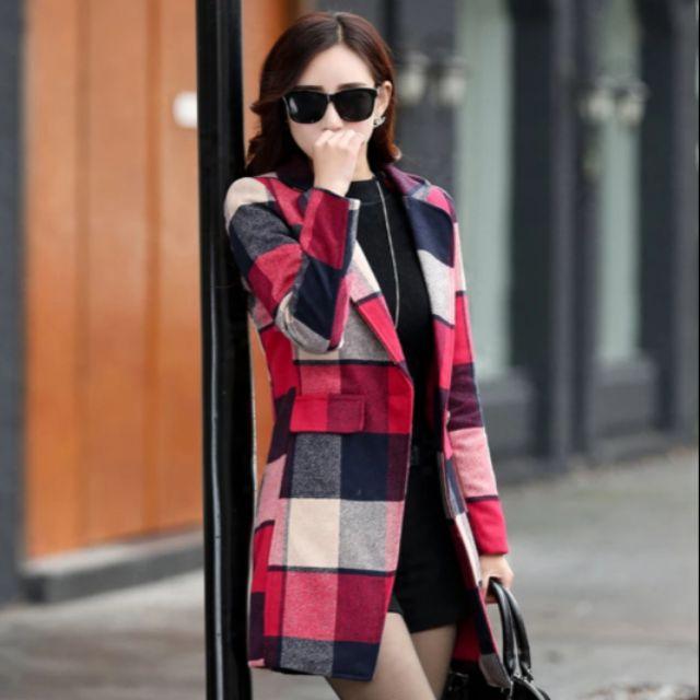 [Miss S] 2018秋冬韓版時尚中長款撞色格子毛尼大衣