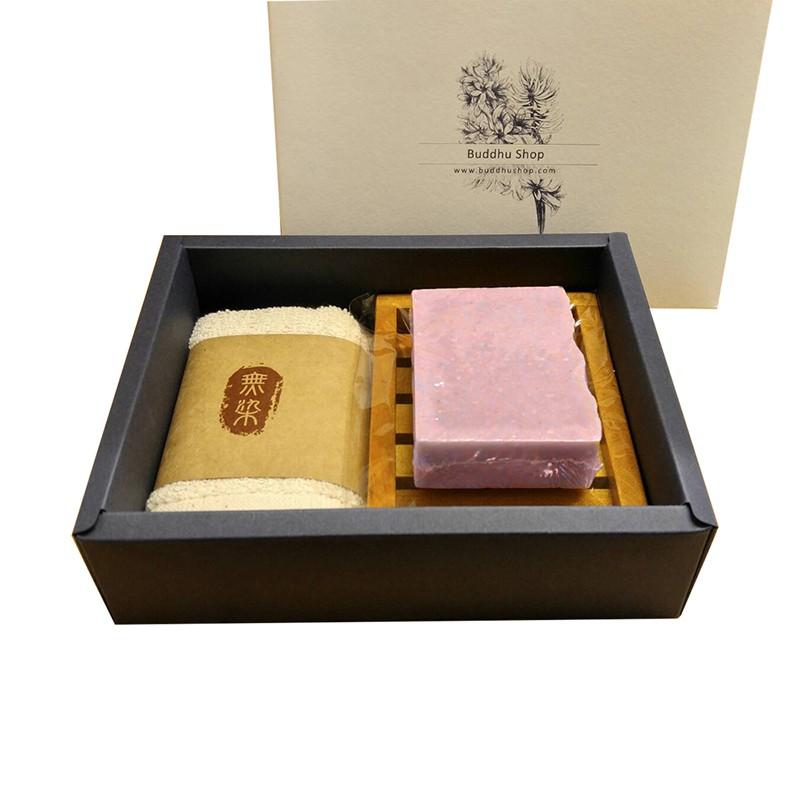 布度工坊 Buddhu Shop 玫瑰天竺葵皂 台灣檀木 無染毛巾 皂盤 手工皂 禮盒組