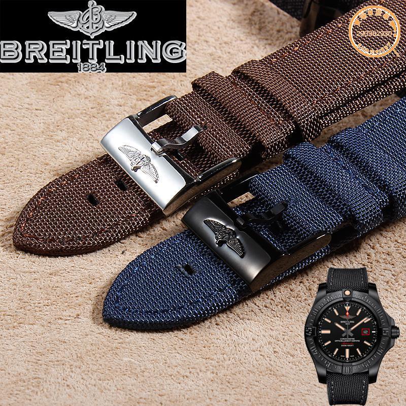 【表配特惠】代用原裝百年靈Breitling-復仇者錶帶 男手錶配件 帆布錶帶22mm