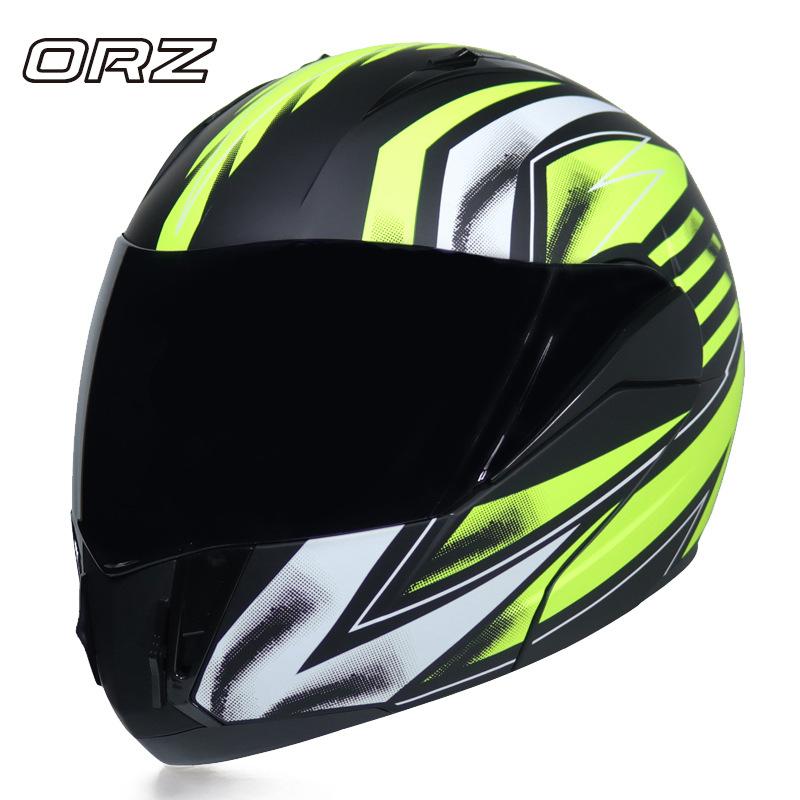 ORZ電動摩托車安全帽 機車頭盔男女士四季頭盔 通用雙鏡片揭面盔
