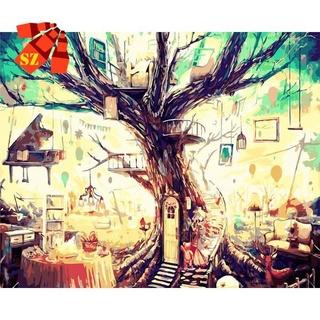 台灣723無框數字油畫 SZ (無框-含顏料畫筆)手繪填色風景植物大樹油彩畫 夢想樹屋 XZms9417NQ