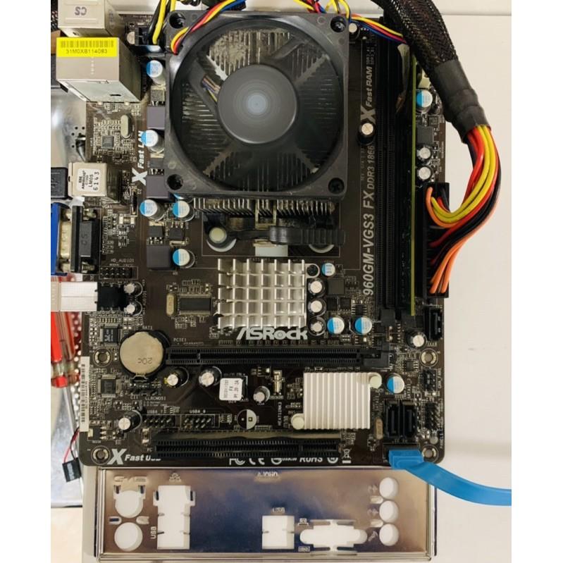 測試正常ASROCK華擎960GM-VGS3 FX主機板附擋板➕COU:AMD FX6300 6核心