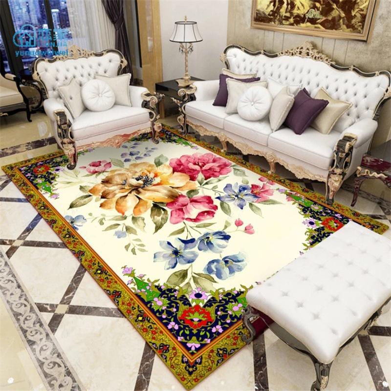 【戀家一慢生活家居】歐式金黃色手繪富貴大花朵廚房客廳臥室床邊地毯地墊定製