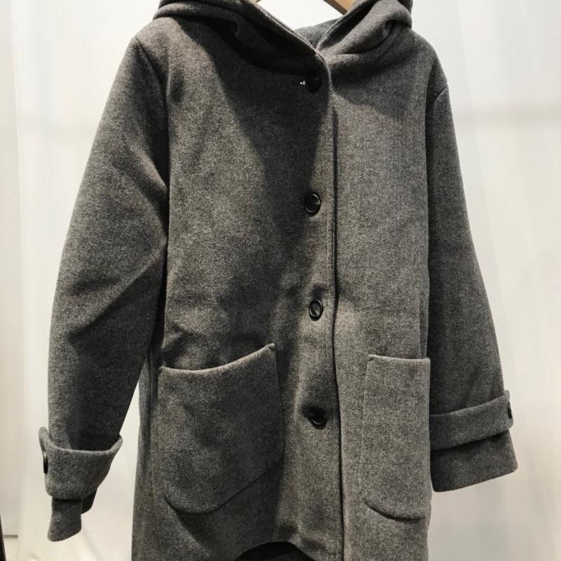 POP SHOP 過季出清 毛呢鋪棉連帽外套 灰色