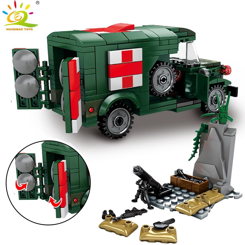 玩具262件兒童軍事救護積木兼容兼容樂高玩具的二戰車輛軍車士兵磚
