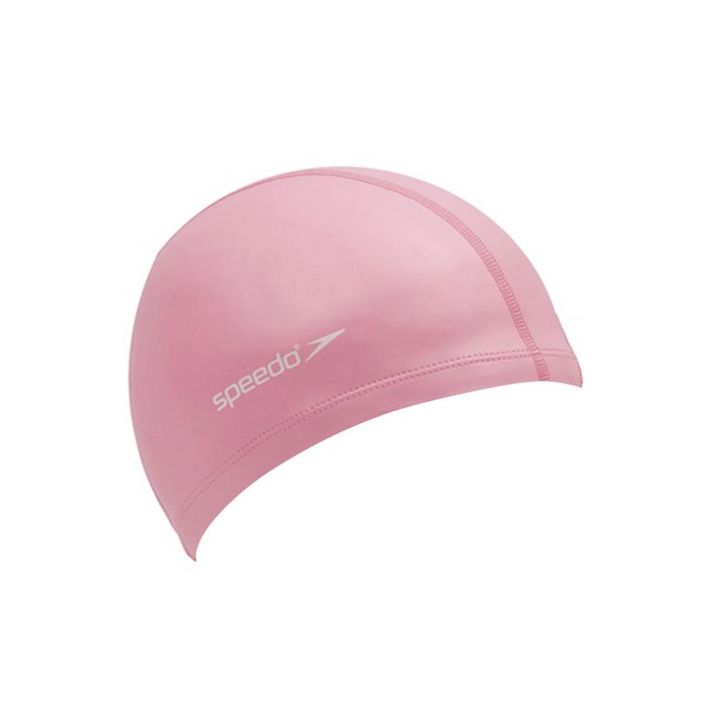 SPEEDO 成人合成泳帽粉紅(彈性泳帽 游泳 海灘 戲水 粉紅