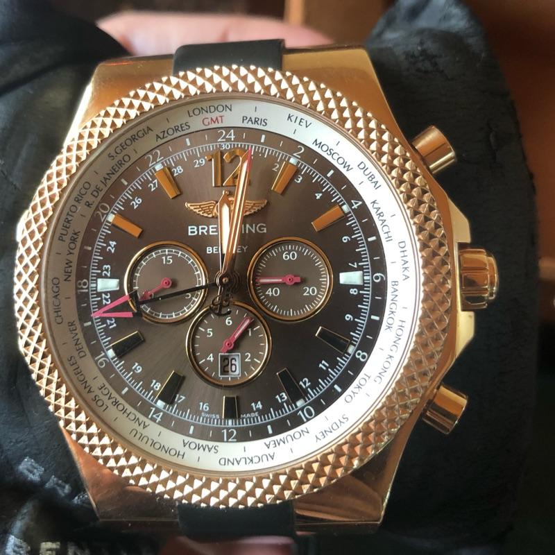 面交110萬百年靈限量粉紅金錶Breitling Bentley GMT Chrono 18k Gold
