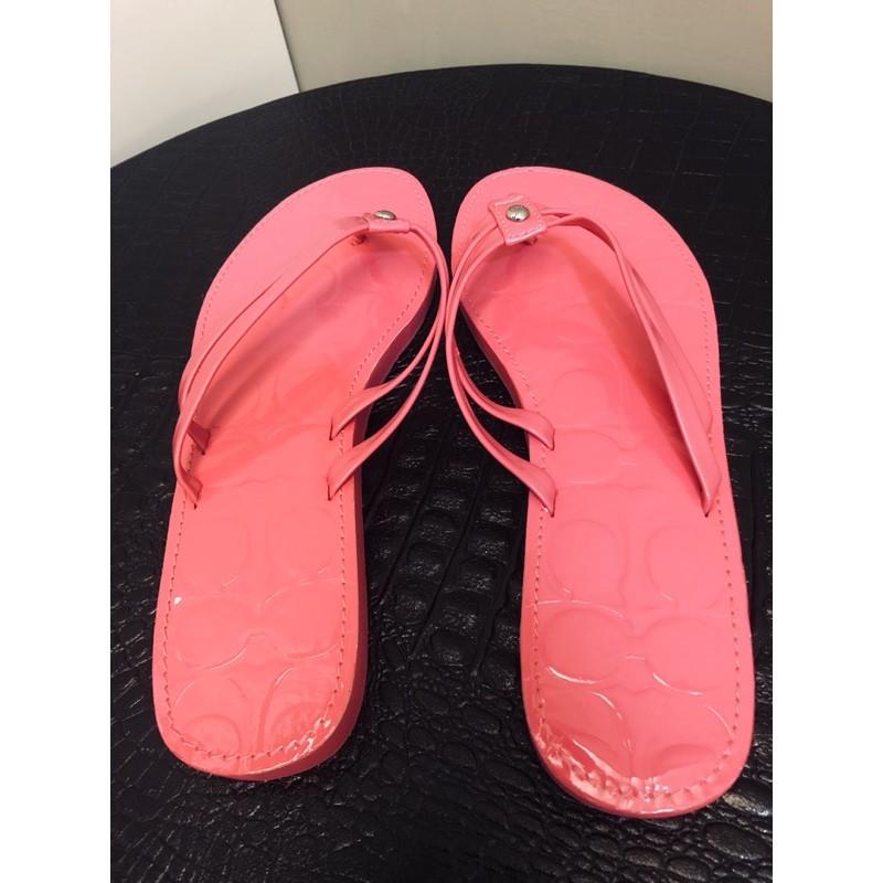 Coach 桃紅 夾腳拖鞋 (24cm)