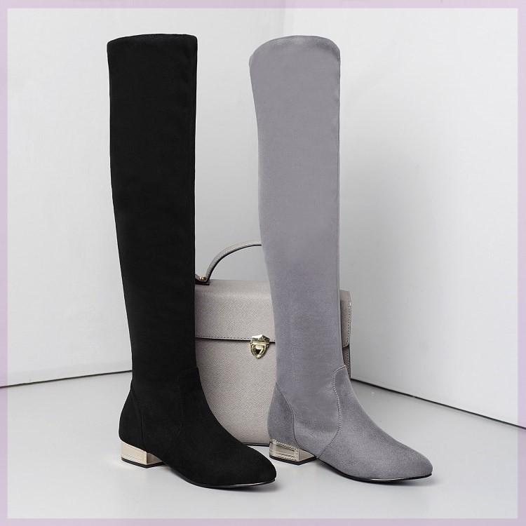 新款歐美彈力靴過膝長靴2020春秋冬粗跟絨面騎士靴高