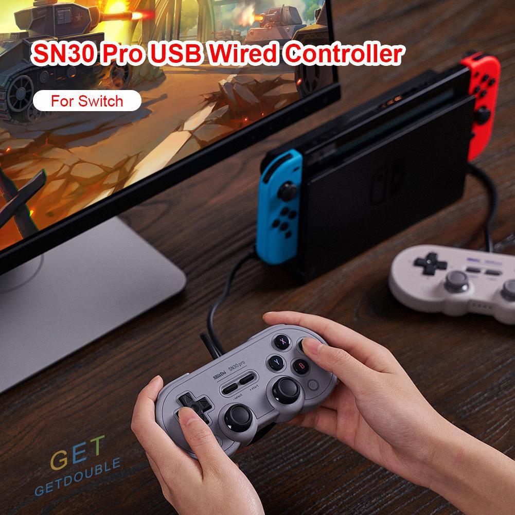 帶我走! 8bitdo Sn30 Pro Usb 有線遊戲手柄控制器控制台振動爆裂操縱桿