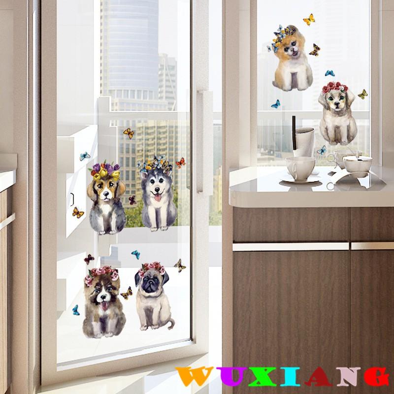 【五象設計】動物136 DIY 壁貼 仿真小狗動物貼紙 房間裝飾 3D逼真立體手繪貼畫牆壁裝飾 組合牆貼