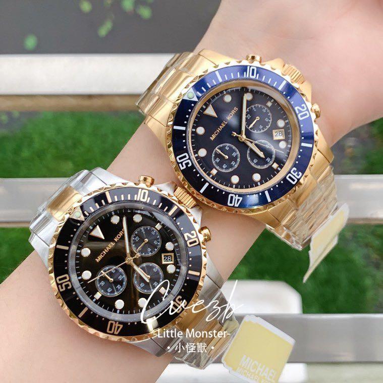 ●小怪獸●正品MICHAEL KORS手錶 MK8267 MK8311 MK8256水鬼系列三眼計時金色不銹鋼錶帶腕錶