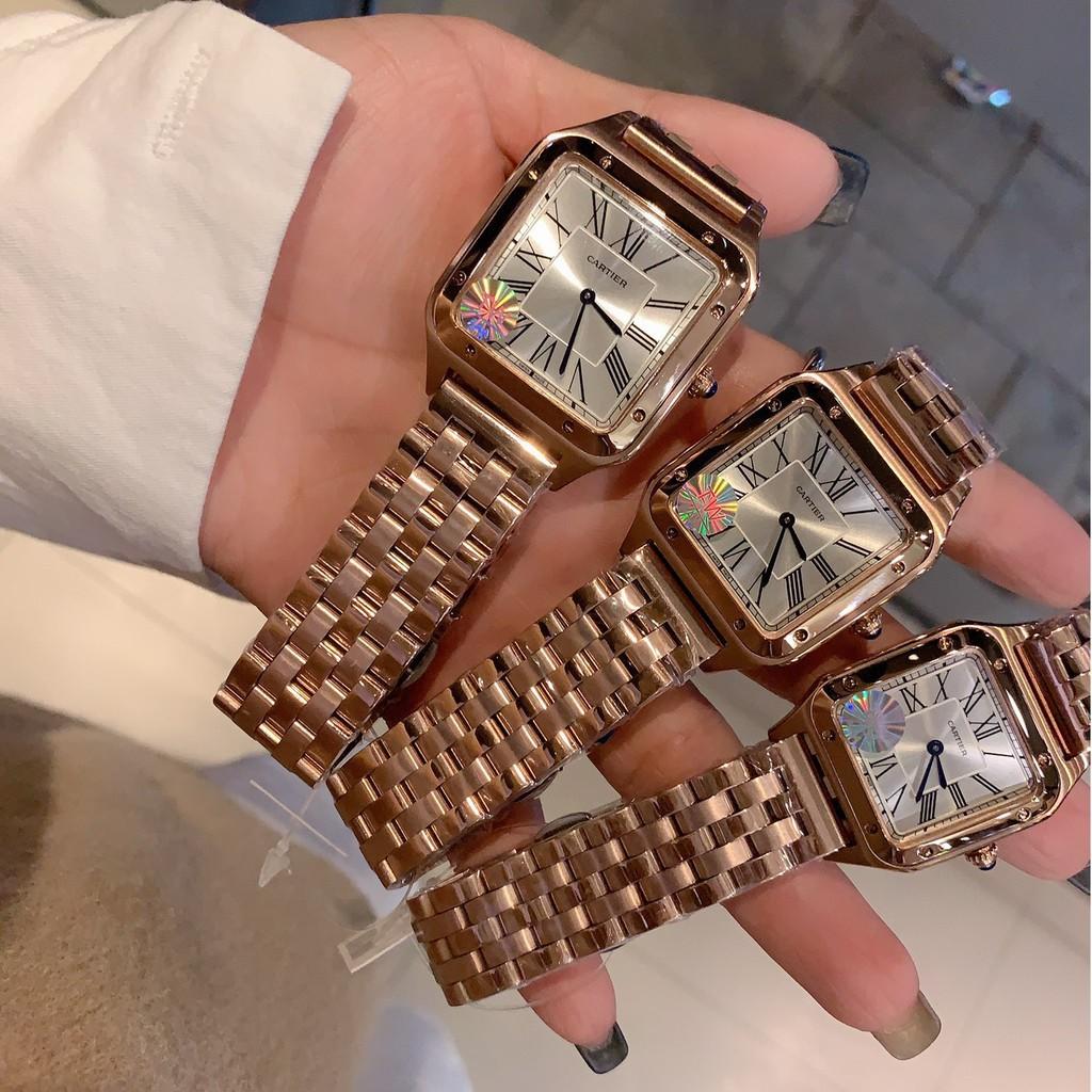 ▲☞Cartier卡地亞山度士Santos-Dumont腕表手錶石英女錶鋼帶美洲豹腕錶Cartier女款腕錶時尚女性