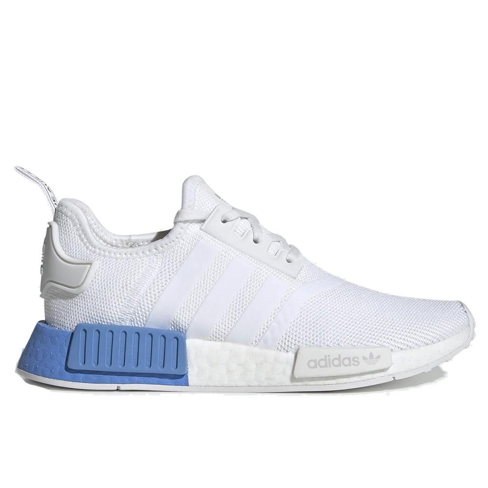 ADIDAS 女 NMD R1 J WHITE REAL BLUE 白藍【A-KAY0 5折】【EE6677】