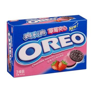 奧利奧OREO巧克力三明治餅乾-草莓口味411g【愛買】