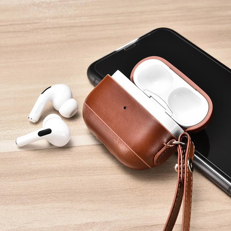 【新品免運】ICARER艾克 適用于蘋果耳機3代保護殼真皮掛繩 AirPods Pro保護套