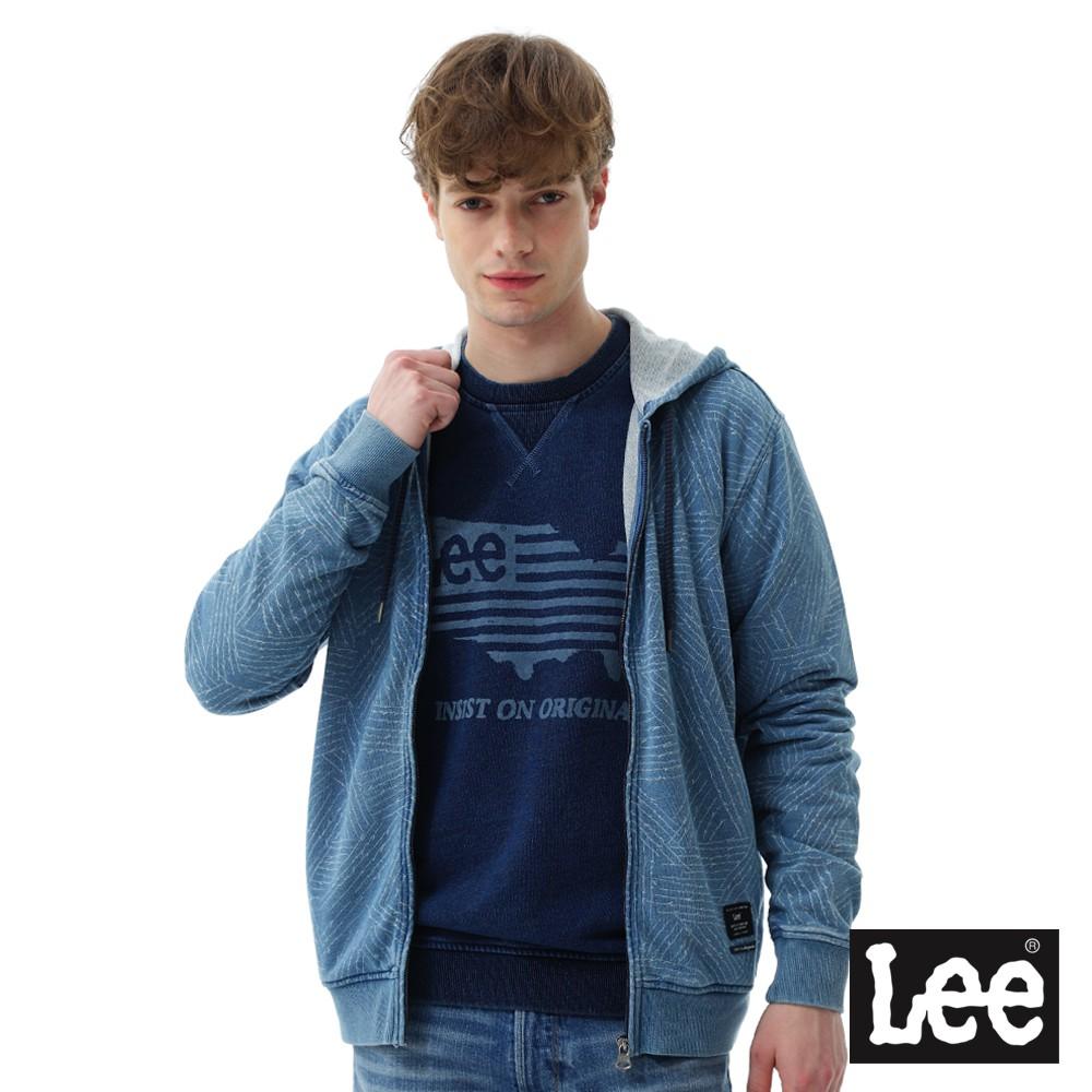 Lee 長袖連帽開襟外套 男 藍 Mainline 1702976XF