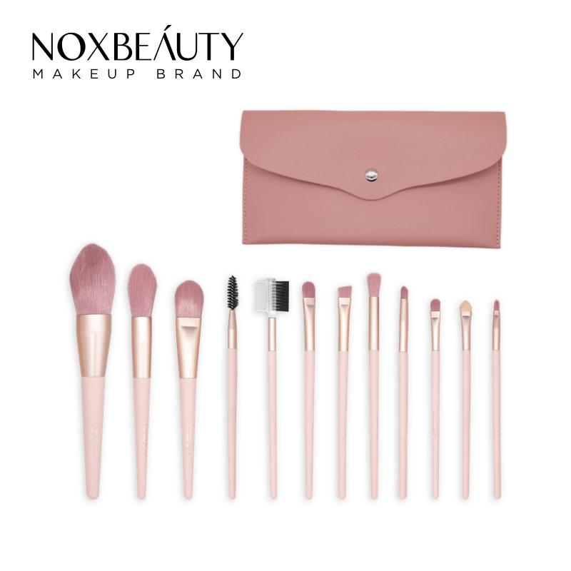 NOXBEAUTY 12支粉色化妝刷 刷具 帶刷包