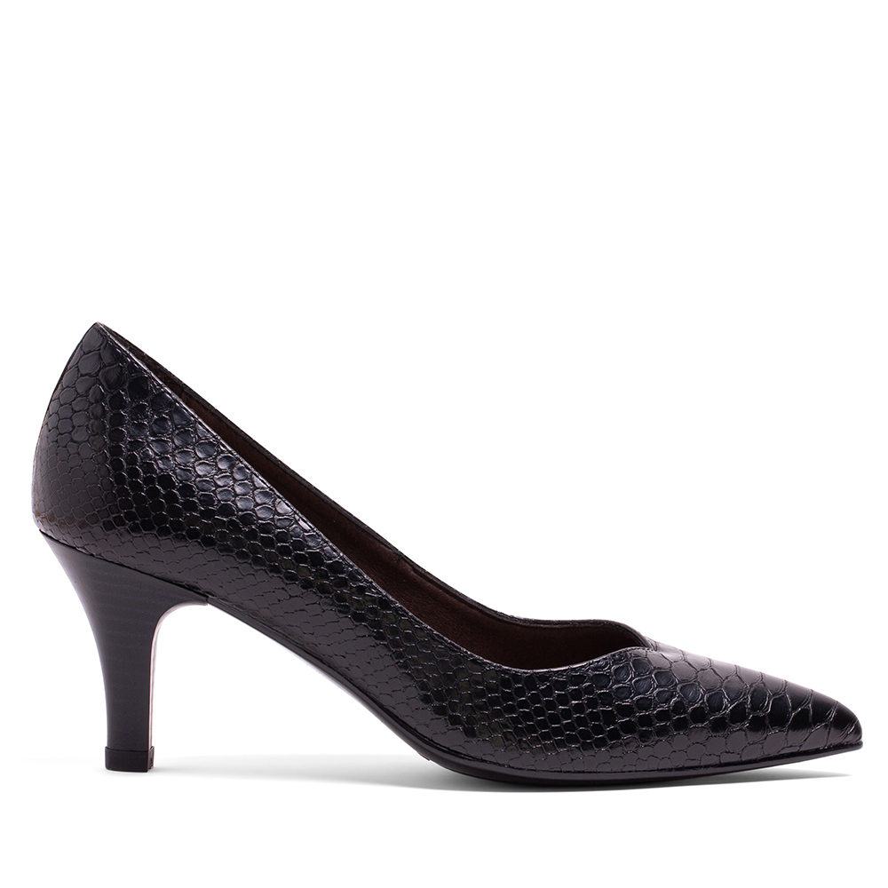MISWEAR 真皮蛇紋寬版高跟鞋-質感黑