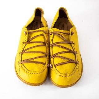 【艾莉娜】pierre cardin 芥末黃 復古綁帶 皮製氣墊鞋 39號 ~ SHJ42 台中市