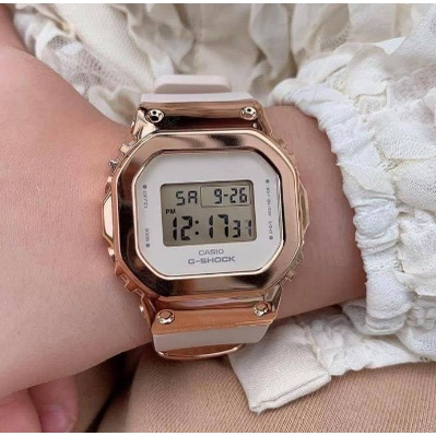 CASIO卡西歐G-SHOCK (中性女錶) 金屬錶殼(白x玫瑰金) 防水200米 GM-S5600PG-4*