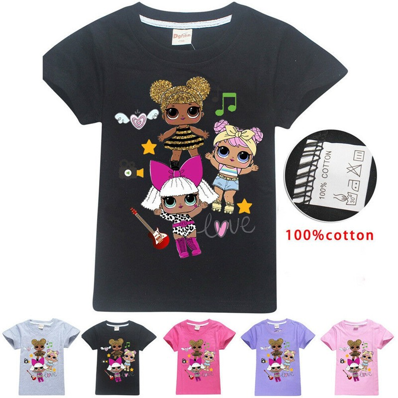 LOL Surprise Dolls女孩T卹短袖上衣孩子衣服棉T卹