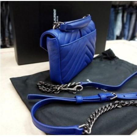 正品YSL 438492 古銅銀扣LOGO 藍色 Mini 手提/肩背款包 學院包
