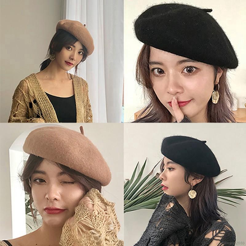 現貨 貝雷帽 ins簡約甜美可愛羊毛帽 復古甜美百搭毛呢蓓蕾帽 純色加厚貝雷帽