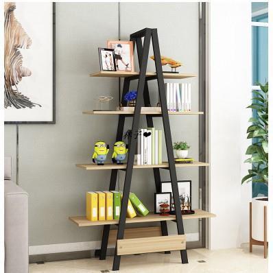 *創意鋼木書架簡易鐵藝貨架牆*上多層置物架客廳架子展示架書櫃陽臺*