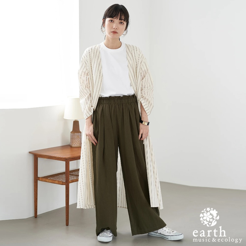 earth music&ecology 棉麻混紡V領開襟高腰抽繩洋裝(1C06L0H0800)
