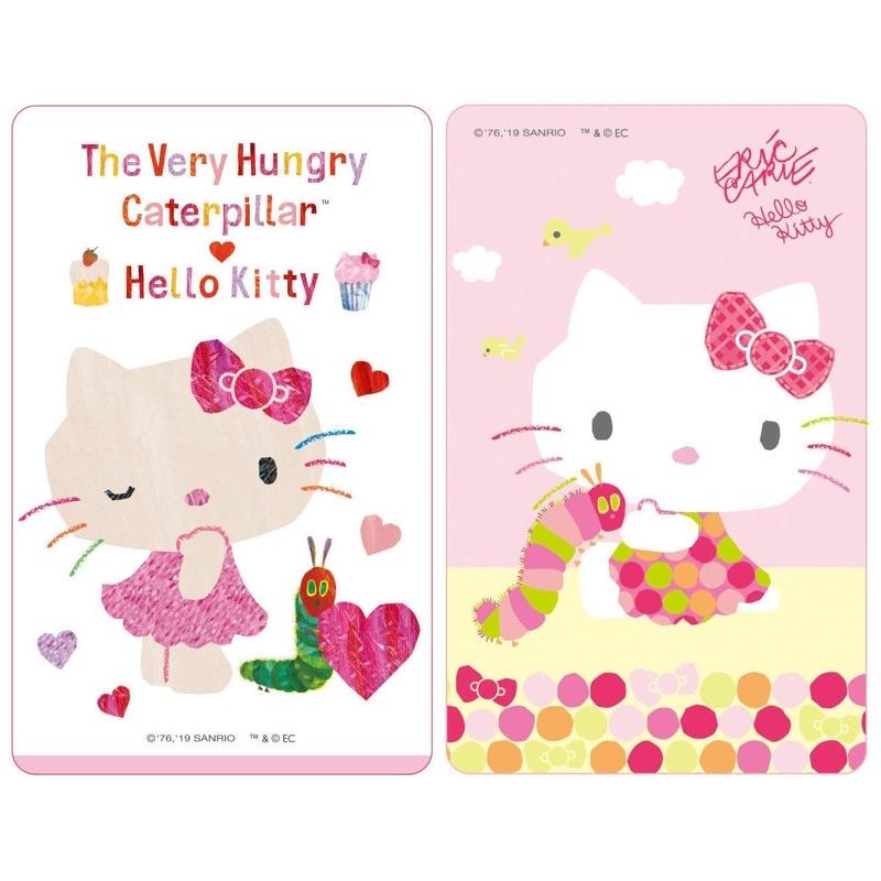 全新HELLO KITTY三玉鷗凱蒂貓好餓的毛毛蟲點點+甜點閃卡悠遊卡二張直購3000元
