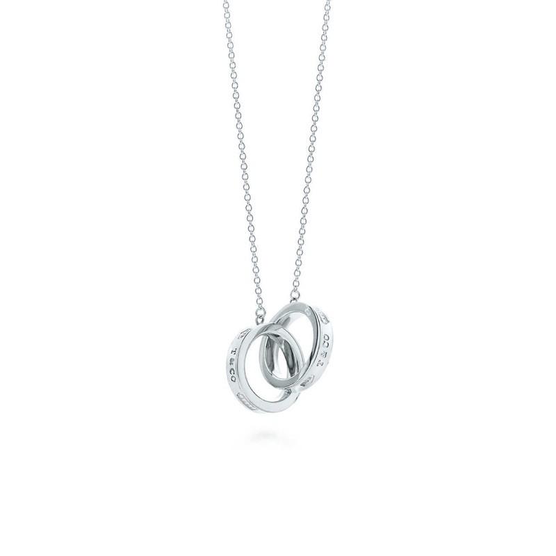 正品Tiffany & Co. 二手項鍊 Tiffany 1837® 純銀雙環項鍊 純銀項鍊 純銀飾品 經典款