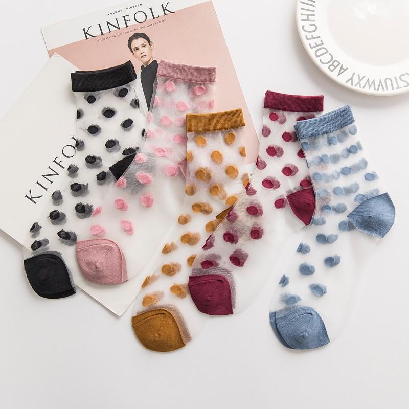 襪子 女襪 潮流 網紅款 ins 復古 圓點 中筒襪 水晶襪 糖果色 透明 薄款 玻璃卡絲 絲襪 PM9002