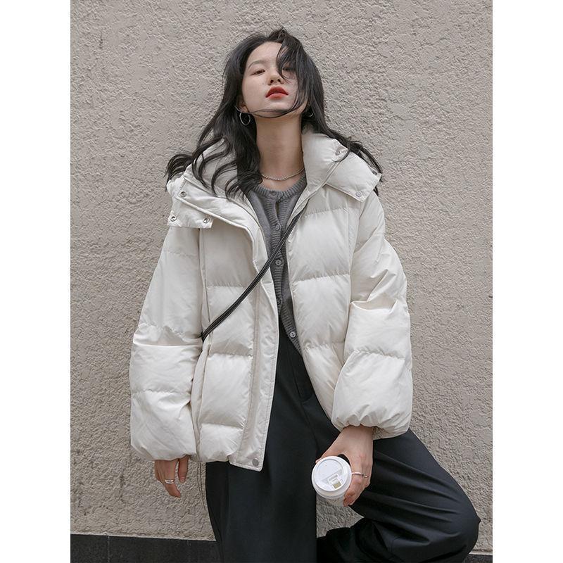 現貨 冬季麵包服女生衣著棉服黑色白色新款棉衣短款連帽外套
