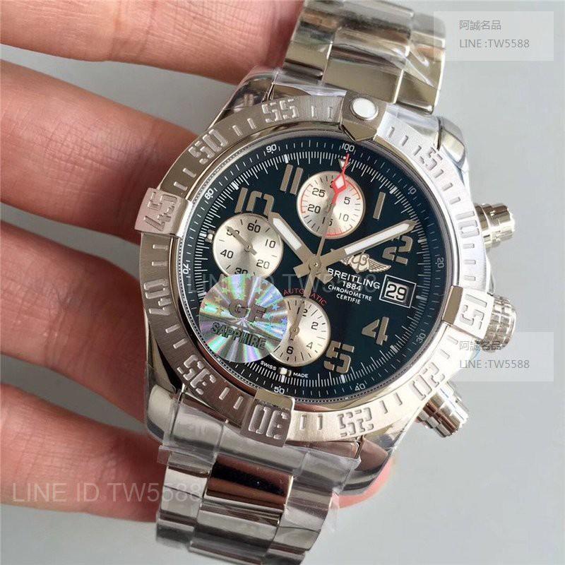 台灣現貨 Breitling百年靈復仇者鋼帶款計時器43mmGF廠藍面